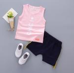 เสื้อ+กางเกง สีชมพู แพ็ค 4ชุด ไซส์ S-M-L-XL (เหมาะสำหรับ 6ด.-4ปี)