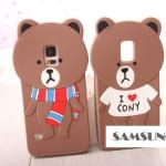 เคส S5 Case Samsung Galaxy S5 STICKER LINE ซิลิโคน 3D หมีบราวน์ พันผ้าพันคอ ใส่เสื้อ I love cony น่ารักๆ