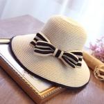 [พร้อมส่ง] H6847 หมวกสานปีกกว้าง หมวกไปทะเล ตกแต่งด้วยโบสานอันโต