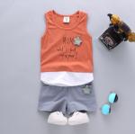 เสื้อ+กางเกง สีส้ม แพ็ค 4ชุด ไซส์ S-M-L-XL (เหมาะสำหรับ 6ด.-4ปี)