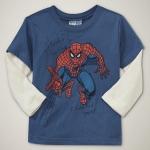 GP106 baby Gap เสื้อผ้าเด็ก เสื้อยืดแขนยาว เนื้อนุ่ม สีน้ำเงินต่อแขนสีครีม สกรีน Spiderman เหลือ Size 18M