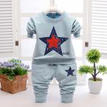 เสื้อ+กางเกง สีฟ้า แพ็ค 4ชุด ไซส์ 100-110-120-130