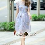 [พร้อมส่ง] เสื้อผ้าแฟชั่นเกาหลี เดรสสวยๆ สไตล์สาวผู้ดีแบบยุโรป ด้วยเดรสทรงเข้ารูปชายกระโปรงทรงบานพริ้วสวยๆ