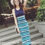 [พร้อมส่ง] เสื้อผ้าแฟชั่นเกาหลีราคาถูก 1 ชุดมี 2 ชิ้น เสื้อ สายเดี่ยว + กระโปรง แต่งแหวกหลัง ผ้า knitting สีฟ้า - น้ำเงิน