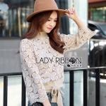 [พร้อมส่ง] เสื้อผ้าแฟชั่นเกาหลี Lady Ribbon's Made จัมเปอร์ผ้าลูกไม้ตกแต่งผ้าถักนิตสุดหวาน