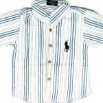 SH101 POLO RALPH LAUREN เสื้อเชิ้ตเด็กแขนสั้น ผ้าคอตตอน นิ่ม พริ้วนิด ๆ สีขาวลายริ้วสีฟ้า ปักม้าตรงอก ผ้ามีลายในตัว เหลือ Size 6/12