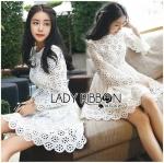 [พร้อมส่ง] เสื้อผ้าแฟชั่นเกาหลี เดรสแขนยาวผ้าคอตตอนปักและฉลุลายดอกไม้สีขาว