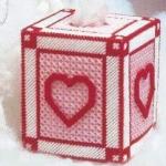 ชุดปักแผ่นเฟรมกล่องทิชชูลายหัวใจนูน