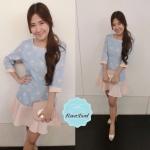 Pastel Sweet Heart Dress เดรสลายหัวใจสีชมพูบนพื้นสีฟ้า