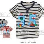 MIL048 เสื้อยืดเด็ก สีครีมลายริ้วสีกรมท่า สกรีนลายถนนเลข 35 ปักแปะรูปรถ เหลือ Size 9