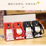 เคส Huawei Mate 9 พลาสติกสกรีนลายการ์ตูนแมวกวักนำโชค Lucky Neko พร้อมที่ตั้งและที่เก็บสายในตัวคุ้มค่ามากๆ ราคาถูก