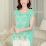 [พร้อมส่ง] เสื้อผ้าแฟชั่นเกาหลี 1 ชุดมี 2 ชิ้น เสื้อตัวใน ไม่มีซับใน + เสื้อตัวนอก แต่งแหวกหลัง ผ้าชีฟอง ไม่มีซับใน เสื้อตัวในสีตามภาพ ตัวนอกสีเขียว