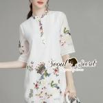 [พร้อมส่ง] เสื้อผ้าแฟชั่นเกาหลี สวยเก๋สไตล์สาวเอเชียด้วยเดรสทรงเชิ้ต ปักประดับลายสไตล์เอเชีย เนื้อผ้าโพลีเอสเตอร์ผสมคอตตอน