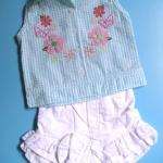 EXG081 Baby Q ชุดเด็กผู้หญิง เซต 3 ชิ้น เสื้อแขนกุดสีฟ้าปักแปะดอกไม้+เสื้อสายเดี่ยวสีขาว+กางเกงขาสั้นสีขาวระบายลูกไม้ Size 12M