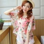 [พร้อมส่ง] เสื้อผ้าแฟชั่นเกาหลี เสื้อแฟชั่นเกาหลี ผ้าชีฟอง แต่งลายผีเสื้อ มีซับใน แบบสวม สีชมพู