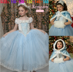ชุดเจ้าหญิง +ผ้าคลุม สีฟ้า P30928 แพ็ค 5ชุด ไซส์ 110-120-130-140-150 (เลือกไซส์ได้)
