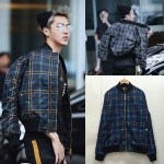เสื้อแฟชั่นเกาหลี เสื้อกันหนาวแฟชั่น ลายสก๊อต EXO KRIS