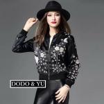 [พร้อมส่ง] เสื้อผ้าแฟชั่นเกาหลี แจ็คเก๊ตผ้าโพลี Silk เกรดพรีเมี่ยมแบรนด์ดัง Valentino ปักลายนกและดอกไม้ด้านหน้า
