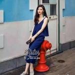 [พร้อมส่ง] เสื้อผ้าแฟชั่นเกาหลี เซ็ตเสื้อ+กางเกงใส่เข้าชุดกัน เนื้อpolyesterเนื้อนิ่มใส่สบายมากๆค่ะ ตัวเสื้อดีเทลสายเดี่ยวทรงครอป สำเนา