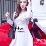 [พร้อมส่ง] เสื้อผ้าแฟชั่นเกาหลี เดรสแขนยาวงานผ้าลูกไม้ปัก ทรงต่อกระโปรงระบายชั้นๆ ผ้าลูกไม้ต่อผ้าโพลีเอสเตอร์