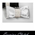 พร้อมส่ง Evening Clutch กระเป๋าออกงาน สีเงิน light silver รูปโบว์ แบบ B