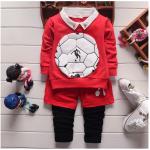 เสื้อ+กางเกง สีแดง แพ็ค 4ชุด ไซส์ 90-100-110-120