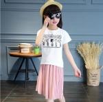 เสื้อ+กระโปรง สีชมพู แพ็ค 6 ชุด ไซส์ 110-120-130-140-150-160