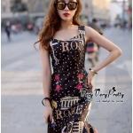 [พร้อมส่ง] เสื้อผ้าแฟชั่นเกาหลี เดรสลายจุดทรงหางปลางานสวยมากค่ะ เนื้อผ้าเรียบเนียน พิมพ์ลายจุดผสมดอกไม้สีแดงลายเก๋มากค่ะ