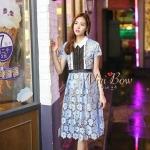 [พร้อมส่ง] เสื้อผ้าแฟชั่นเกาหลี ชุดเดรสลูกไม้สีฟ้า ถัดทอลายดอกทั้งชุด คอปกเชิ้ต ชุดมีซิปหลัง มีซับใน