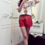 [พร้อมส่ง] เสื้อผ้าแฟชั่นเกาหลี เซ็ทเสื้อ+กางเกงขาสั้น เสื้อยืดผ้า cotton สีขาว เนื้อหนานุ่มใส่สบาย เนื้อแขนสั้น ด้านหน้าพิมพ์ลายกวาง