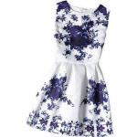 ชุดกระโปรง ดอกไม้สีน้ำเงิน A (ผู้ใหญ่) แพ็ค 4 ชุด ไซส์ S-M-L-XL(เลือกไซส์ได้)