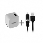 Golf USB Adapter 1A + สายชาร์จ Eloop 2 in 1 Double Sided USB Data Cable