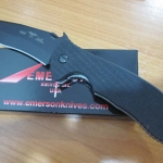 Emerson Commander Black Finish Blade, Black G10 Handle, Plain