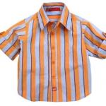 KP300 Kidsplanet เสื้อเด็กชาย เชิ้ตแขนยาว แขนพับเบิ้ลติดกระดุมได้ สีฟ้าอ่อนลายริ้วใหญ่สีส้ม เรียบง่ายแต่เท่ห์ครับ เหลือ Size 24M
