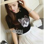 [พร้อมส่ง] เสื้อผ้าแฟชั่นเกาหลี T-Shirt เสื้อยืดปักลายแมวเหมียวประดับมงกุฏคริสตัล ใครรักแมวต้องชอบตัวนี้แน่ๆค่ะ เป็นเสื้อยืดธรรมดาที่ไม่ธรรมดา สำเนา