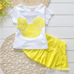 เสื้อ+กระโปรง สีเหลือง แพ็ค 5ชุด ไซส์ 100-110-120-130-140