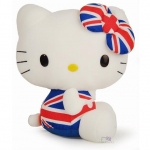 "ตุ๊กตาเฮลโหลคิตตี้ Hello Kitty 12"" Stuffed Plush Toy Union jack jumpsuit London Sanrio Japan (L)"