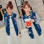 [พร้อมส่ง] เสื้อผ้าแฟชั่นเกาหลี Cliona made'MLB Fashion Jacket - เสื้อคลุมกันหนาว แขนยาว ทรง Sport girl มีสามโทนยีนส์แขนสีเทา