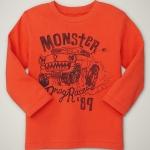 GP113 baby Gap เสื้อผ้าเด็ก เสื้อยืดแขนยาว เนื้อนุ่ม สีส้ม สกรีนลาย Monster Truck Size 18M/2Y
