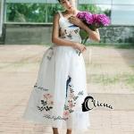 [พร้อมส่ง] เสื้อผ้าแฟชั่นเกาหลี เซ็ตเสื้อ+กระโปรง ทำจากผ้าออแกนซ่าชั้นดี คุณภาพเกรด A ปักลายดอกไม้และนกสีน้ำเงิน