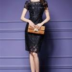 พร้อมส่ง ชุดเดรส/ชุดออกงาน ผ้าเกาหลี ผ้าโปร่งปักแขนสั้นลายดอกไม้ สีดำ (ซิปหลัง) **เหลือเฉพาะไซส์ M , L , XL , 2XL **