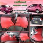 ผ้ายางปูพื้นรถยนต์ Mitsubishi Mirage ลายสนุ๊กสีแดงขอบครีม