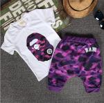 เสื้อ+กางเกง สีม่วง แพ็ค 5 ชุด ไซส์ 7-9-11-13-15