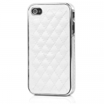 I Phone 4,4S Luxury Electroplating Leathe : White