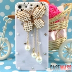 case iphone 5 เคสไอโฟน5 เคสติดผีเสื้อประดับมุกและเพชรมีสายห้อยตุ้งติ้งไข่มุกเม็ดใหญ่ สวยๆน่ารักหรูหรา drill shell butterflies diamond pearl