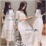 [พร้อมส่ง] เสื้อผ้าแฟชั่นเกาหลี Premium Quality เดรสแขนสั้นผ้าออร์แกนซ่าปักลายตกแต่งผ้าลูกไม้สีขาวสุดหวาน เดรสตัวนี้เป็นสไตล์คล้ายๆแบรนด์ Self-Portrait