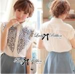 Lady Dina Embroidered Laser-Cut Shirt-Sleeved Shirt เชิ้ตขาวแขนสั้นปักและฉลุลาย