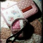 กระเป๋าสตางค์ใบยาว + กระเป๋าเหรียญวงกลม ผ้าคอตตอนลินินญี่ปุ่น - สั่งทำได้นะคะ ราคานี้ส่งฟรี