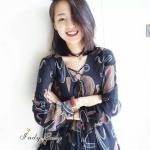 [พร้อมส่ง] เสื้อผ้าแฟชั่นเกาหลี มินิเดรสแขนยาว มีเชือกไขว้ตรงอก น่ารักมากๆคะทรงน่ารัก ใส่ออกมาสวย ใส่ง่าย ใส่สบาย น่ารักสุดๆคะ