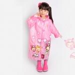 เสื้อกันฝนลายสาวน้อยพร้อมซอง (สีชมพู)